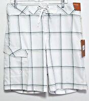 New! Mossimo Men's White & Gray Plaid Polyester Blend Swim Shorts - Size 30