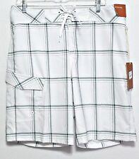 New! Mossimo Men's White & Gray Plaid Polyester Blend Swim Shorts - Size 34