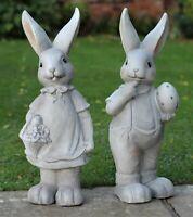 Garden Ornament Rabbit Hare Sculpture indoor outdoor Stone Effect 60cm