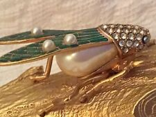 Edgar Berebi Swarovski Crystal Cicada on Gold Branch Trinket Box