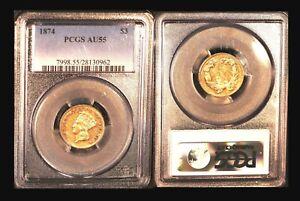 1874 $3 PCGS AU  55 - Indian Princess