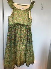 Mona green floral silk dress in size L
