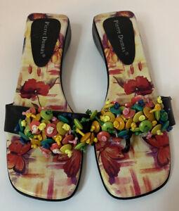 Pierre Dumas Slip On Sandals Floral Women's Size 7.5 M Black