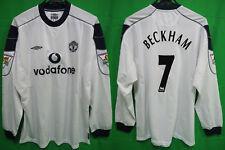 2000-2001 Manchester United Jersey Shirt Away Vodafone Umbro L/S Beckham #7 XL