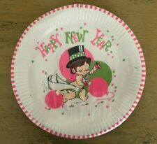 Vintage New Year Pink Green Dinner Plates Little Boy Futura Fashion Ware Ca Reed