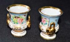 "Vintage LE TALLEC PARIS France Light Blue FLOWERS Pair of Mini 2 3/4""h Urn Vase"