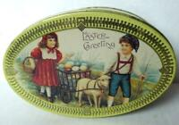Easter Greetings Tin Box Egg Shaped vintage imperfect