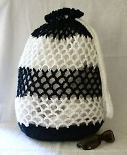 "Beach Bag Crochet Kit Navy and White Cotton, 18"" tall, Drawstring"