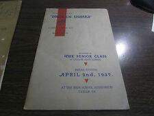 SERIOR PLAY - BROKEN DISHES - TE SENIOR CLASS TAYLOR HIGH SCHOOL 1937 - PROGRAM