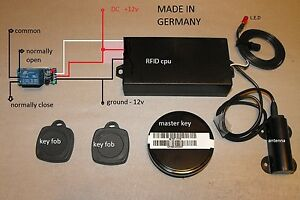 RFID Reader transponder key fob security with relay board