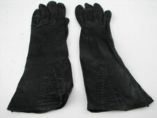 "*VINTAGE ""A"" BLACK  KID LEATHER GLOVES  UNLINED  SIZE 6.5"