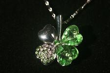 Emerald Green Crystal Shamrock Necklace, 4 leaf clover silver-tone, Irish