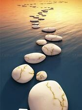 STEP STONES SUNSET WATER SURREAL PHOTO ART PRINT POSTER PICTURE BMP971A