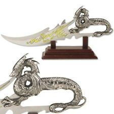 """7.5"""" DRAGON'S BREATH STAINLESS STEEL FANTASY DAGGER w/ DISPLAY PLAQUE Medieval"""