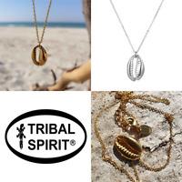 Tribal Spirit Kette Anhänger Kauri-Muschel komplett Edelstahl vegan Silber Gold