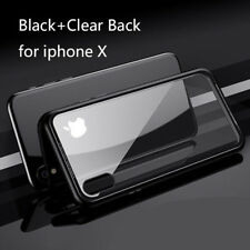 Luxury magnetic metal frame glass full back cover case for iphone X 7/8 Plus