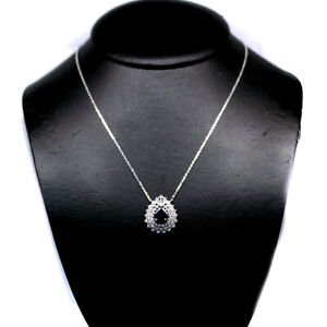 """NATURAL 8 X 10mm. BLUE SAPPHIRE & WHITE CZ NECKLACE 19"""" 925 SILVER STERLING"""