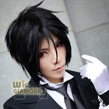 Black Butler Sebastian·Michaelis noir court droit Cosplay perruque de cheveux