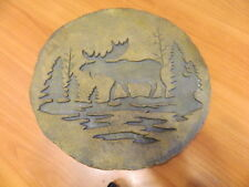 Moose Country Lodge Cabin Decorative Stepping Stone Wall Plaque Pine Trees