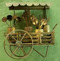 Vintage A Good-Art Creation George Imports,  Flower cart 3 D metal scupture RARE