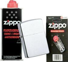 Zippo ORIGINAL chrom gebürstet chrome brushed + Zippo Benzin + ZiPPO Zündsteine