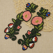 2 Pcs Embroidery Flower Iron On Patch Badge Bag Hat Jeans Dress Applique Crafts