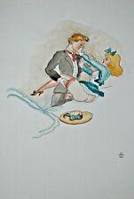 Alexander Szekely Erotische Szene Federzeichnung aquarell signiert 1965 Akt Sex