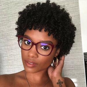 8'' Black Afro Short Kinky Curly Pixie Cut Wig Glurless Peruvian Human Hair