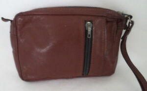 BROWN LEATHER CLUTCH BAG WITH WRIST STRAP TRAVEL FESTIVAL