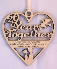 PERSONALISED 20TH YEAR ANNIVERSARY PLAQUE - ENGRAVED WITH YOUR OWN WORDING