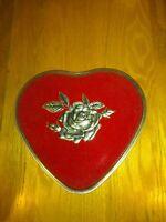 Vintage red heart tin, flocked velvet heart shaped tin, valentine candy tin