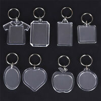 5PCs Transparent Blank Insert Photo Picture Frame Keyring Key Chain DIY Gift JR