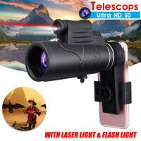 50X60 Zoom HD Lens Monocular Telescope + Laser Light Clip Hunting Phone Holder