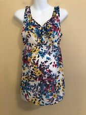 Old Navy Maternity Small S Floral Sleeveless Tank Top Tunic Shirt Ruffle Chiffon