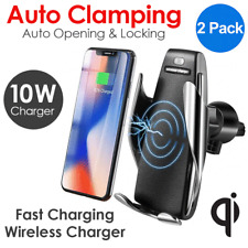 2x Automatic Clamping Wireless Car Charger Fast Charging Mount For iPhone LG HTC