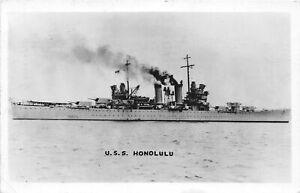 H60/ Ship RPPC Postcard U.S.S. Honolulu Light Navy Cruiser 102