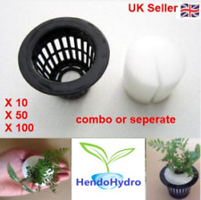 More details for 2 inch net pot mesh cup & cloning collars hydroponic grow sponge clone insert