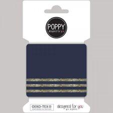 Cuffs Bündchen blau mit Streifen in Gold Lurex Fertigbündchen 135 cm x 7,5 cm