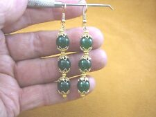 (ee403-32) 10 mm Green Jade Canada gemstone 3 bead gold filigree dangle earrings