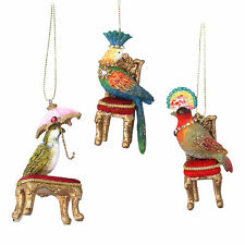 3 x assort Gisela Graham Hanging Tropical Bird Christmas Decoration Parrot Chair