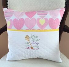 Heart Pillow. Pocket/Reading/Book Pillow. 16X16 Pink Pillow. You Hold The Key.