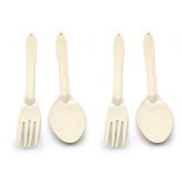 set 2 pairs Cream enamel spoon fork enamelware dishes vintage kitchenalia