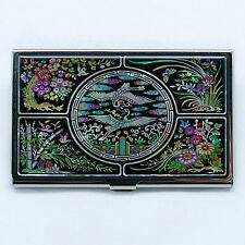 Four gracious plants mother of pearl business card case Embossed metal case
