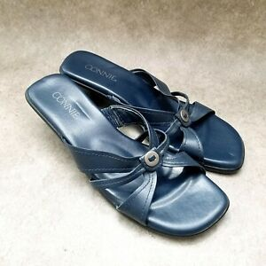"""Connie Womens Wiggle  Sz 8 M Blue  Leather Slide Open Toe 2"""" Heel Sandals"""