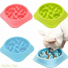 Dog Cat Pet Bowl Pan Interactive Slow Food Feeding Healthy Gulp Feed Dish Large