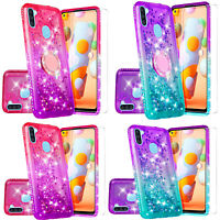 Case for Samsung Galaxy A11 Hybrid Glitter Diamond Phone Cover with Temper Glass