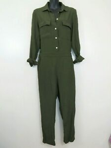 Madewell XS Pull On Jumpsuit Green Button Down Roll Tab As Is