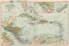 CARIBBEAN. West Indies and Central America; inset Panama Canal; Bermuda 1903 map