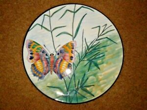 BEAUTIFUL POTTERY PLATE BUTTERFLY HAND PAINTING MADE IN SPAIN