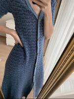 Zara Teal Midi Blue Tweed Boucle  Long Knit Dress S UK 8 10 Bnwt